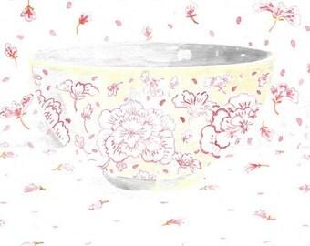 Art Print of Original Watercolor Painting -- Pink China Bowl