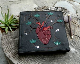 Anatomical Heart Leather Diary Healing Diary Art Journal With Turqoise Lotus Flower DetailingLarge Blank Page Notebook Plant Medicine