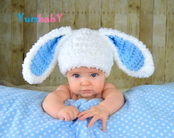 Bunny Hat White and Blue Fluffy Easter Hat Rabbit Ears Beanie Floppy Ear Bunny