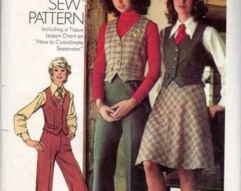 "1970s Women's Bias-Skirt, Vest and Pants Pattern - Size 12 MP, Bust 34"" - Simplicity 5206 Misses Petite pattern"