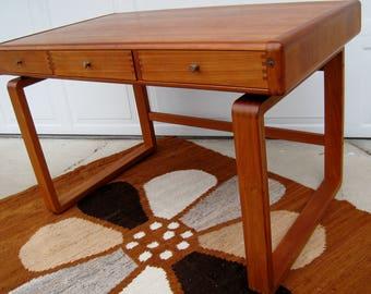 Danish Modern Desk vintage solid teak D-Scan writing desk with locking drawer secret compartment mid century