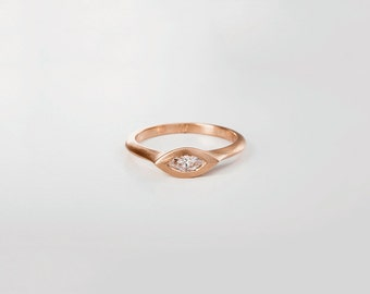Marquise Engagement Ring, Marquise Diamond Ring, Rose Gold Ring, Rose Gold Engagement Ring Women,Solitaire Marquis Ring 14k 18k