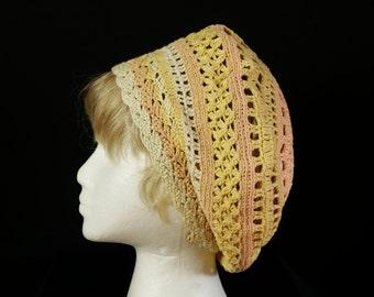 Summer slouchy hats Chemo cap Crocheted woman summer beret Bohemian lace beanie hat Cotton chemo headwear Multi color hippie crochet beret