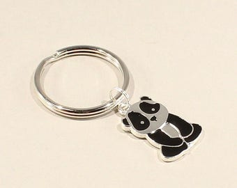 Panda Bear KeyChain Gift for Zoologists Keyring Animal Key Chain Conservationist Black Jewelry Charm Present Zoo Keeper Animal Jewelry