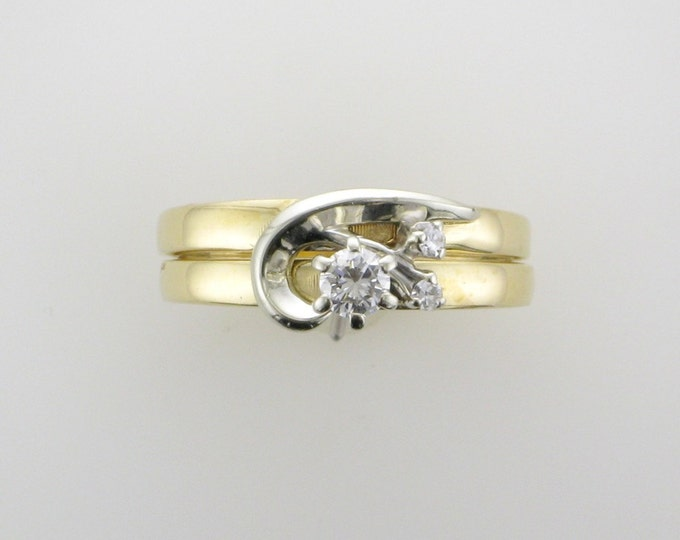 Vintage Diamond Wedding Set; Diamond Engagement Ring with Matching Wedding Ring; 1960's Wedding Set; Diamond Wedding Set