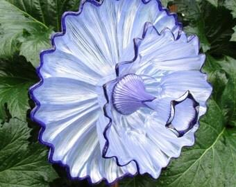 Outdoor Garden Decorations - glass plate flower - hand painted  Lilac Pearl & Purple garden art - repurposed glass garden art