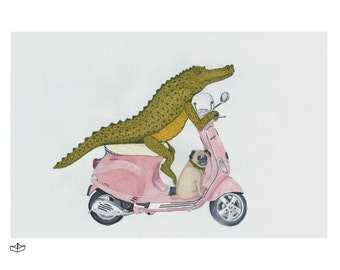 Vespa Art Print, Alligator art print, Friendship Art Print, Animal Art Print, crocodile Drawing, Pug Art Print, Motorcycle Drawing, Cute Art