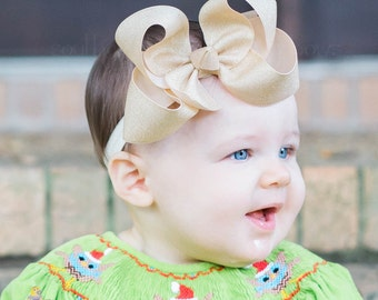 Gold Glitter Bow, Gold Bow, Gold Hair Bow, Gift for Girl, Gold Baby Bow, Girls Gold Bow, Gold Glitter Bow, Gold Christmas Bow