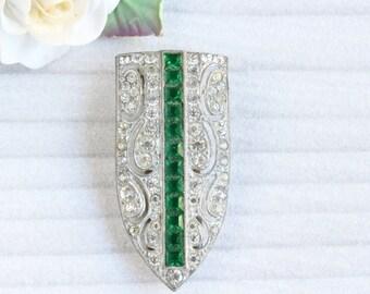 Vintage Art Deco White and Emerald Green Rhinestone Dress Clip