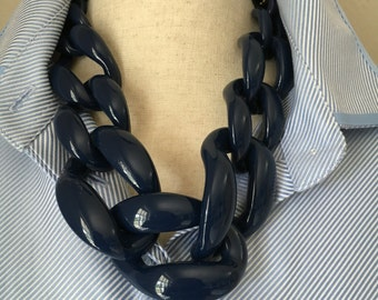 Chunky Link Necklace Navy Necklace