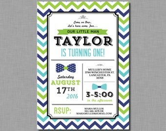 Bow Tie First Birthday Invitations lime green navy turquoise gray MB01 Digital or Printed