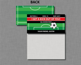 Soccer Valentine Bag Toppers Printable Customized Classroom PDF
