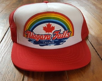 NIAGARA FALLS HAT // 80's Red White Canada Maple Leaf Rainbow Velvet Velour Trucker Hat Baseball One Size Fits All Vintage Water
