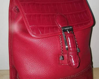 RED LEATHER BACKPACK // 90's Moc Croc Embossed Pebbled Drawstring Braided Purse Vegan Faux Leather Lipstick Bright Red