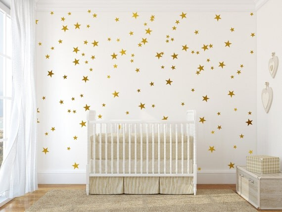 Gold Stars Wall Decals Set Peel and Stick Decals Baby