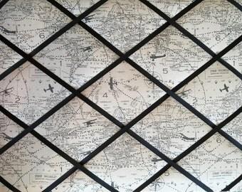 16x20 French Memo Board - Destination memo board, bulletin board, organization, wall decor, display, Map, Globe