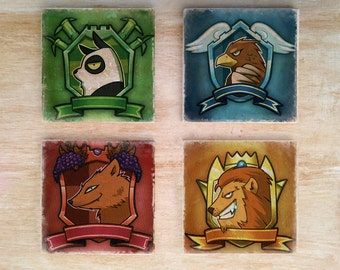 Stone or Ceramic Arcadia Quest coasters (set of 4) - Vintage Distressed retro fun rpg table top game table top rpg board game