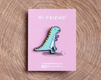 Teal Dinosaur Enamel Pin / Dinosaur Enamel Pin - Illustrated