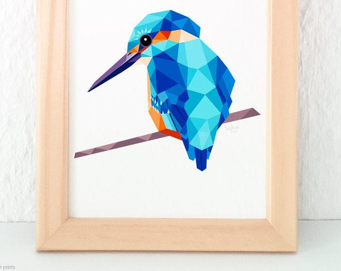 Kingfisher print, Geometric kingfisher, Bird art, Beautiful bird, Turquoise blue print, Large animal print, European birds, tinykiwi art