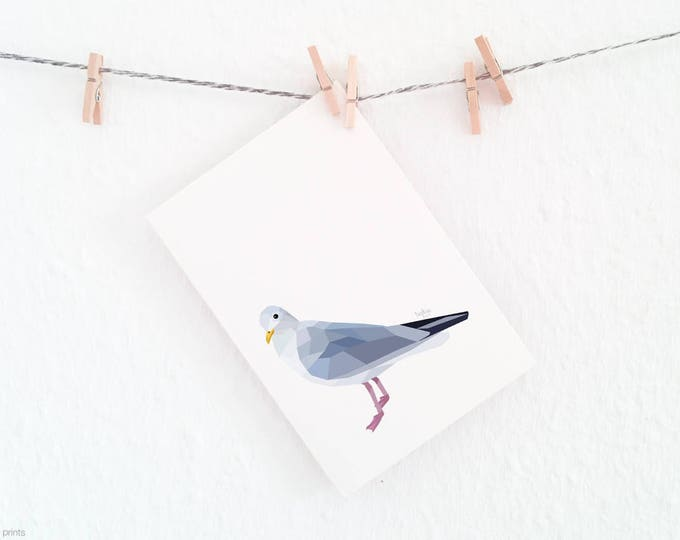 Seagull print, Sea birds, Geometric birds, Ocean theme art, Bathroom art, Wildlife art, Bird art, White and grey decor, Neutral decor, Gull