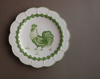 Set of 4 Italian ceramic (wall?) plates Easter bunny rabbit rooster chicken duck spring green laurel RARE