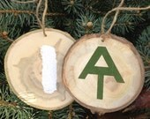 Appalachian Trail Holiday Christmas Ornament two sided and printed on a real wood slice. AT and blaze logo. Forest Branch Tree Slice Rustic