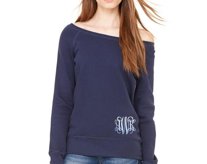 Monogrammed off the shoulder sweatshirt, Monogram Sweatshirt, Oversized Sweatshirt, Monogrammed Sweater, Pullover Sweatshirt