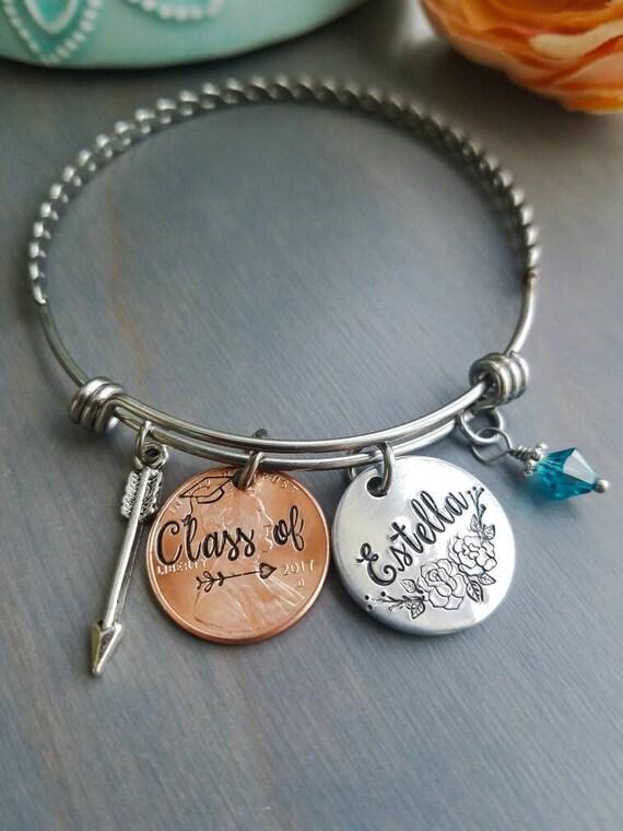 Personalized graduation bangle, 2017 bangle, custom name bracelet, gift for graduate, high school senior jewelry, 2017 graduation present