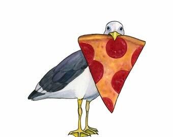 Seagull Art Print Funny Food Gift Pepperoni Pizza Art Whimsical Animal Art Donut Art Watercolor Art Print Watercolor Bird Art Beach Decor