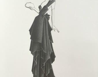 original fashion illustration - sketch - pencil drawing - old hollywood - decor