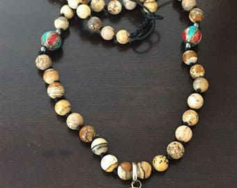 Tibetan Lotus Flower Necklace, Hand Knotted, Jasper, Adjustable Length