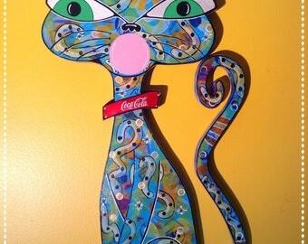 "Outsider Folk Art Cat, ""Coca-Cola Bubble Gum Cat"", Folk Art Cat Wall Hanging, Large Abstract Coca-cola Cat, Bubble Gum Outsider Art Cat"