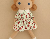 Fabric Doll Rag Doll Light Brown Haired Girl in Red and Aqua Floral Dress