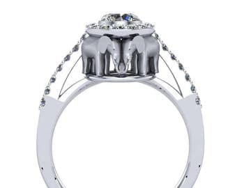 Elephant Engagement Ring in 14k White Gold