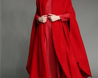 Wool Maxi Coat Cloak, 100% cashmere wool coat, Wedding Cape, Wedding Cloak, Hooded Coat, Maxi Bridal Cape Cloak, Winter Wool Cape Poncho