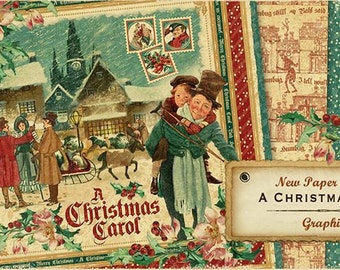 Graphic 45 Christmas Carol 12x12 Paper Set - 1 of each 8 design papers