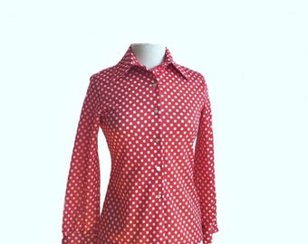 Vintage 70s red & white polka dot shirt/ Jack Winter blouse/ button down office shirt/ Preppy hipster groovy shirt