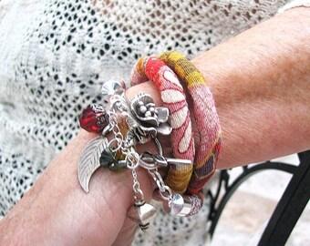 ON SALE Boho wrap bracelet Thai Hill Tribe silver multi charm dangle bracelet Fabric cord wrap around bracelet Pink red grey textile cuff