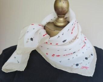 Silk scarf, Esprit scarf, silk neckerchief, square silk scarf, delicate scarf, silk hair wrap.hand rolled.summer scarf.bracelet scarf