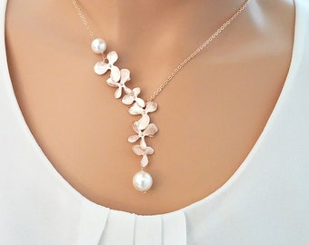 Pearl Necklace ,Rose Gold Necklace, Orchid Necklace, Flower Necklace, Wedding, Bridesmaid gifts