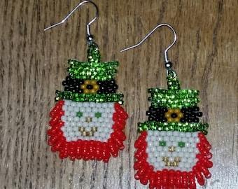 Leprechaun Earrings/Beaded Leprechaun/St. Patty's Jewelry/Brick Stitch Earrings/Native Made