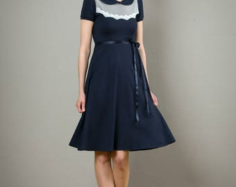 "Elegant Dress""Florence"", dark blue and off-white with lace"