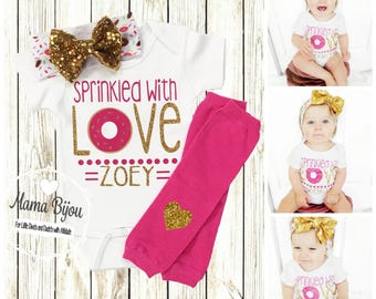 Doughnut Newborn Girl, Coming Home Outfit, Personalized Baby Outfits, Baby Girl Donut Outfit, Clothing, Baby Gift Hospital Take Home Set