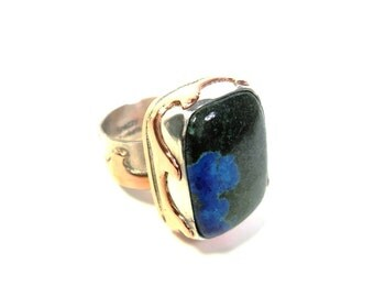 Nautical Wave Ring, Mixed Metal, Silver and Copper, Blue and Green Stone, Nautical Jewelry, Azurite Malachite Stone, Beach Themed Jewelry