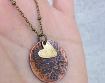 Copper heart dome necklace