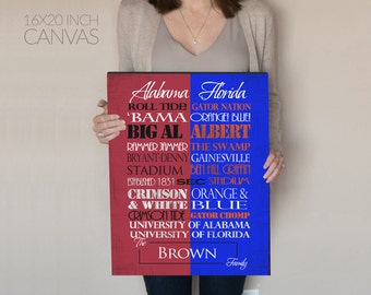 Personalized Alabama Crimson Tide/University of Florida Gators House Divided Print or Canvas. Gift for the House Divided. Couples gift.