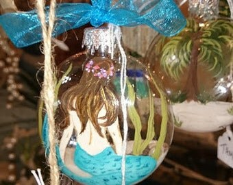 Ornament,  glass, mermaid and seaweed, hand painted