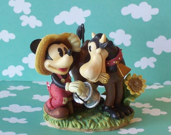 Vintage Disney Mickey Mouse Milking Clarabelle the Cow Figurine