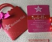 Birthday Girl | Girl Shopping Bag Invitation | Birthday Invitation | Doll Party Invitation | Red and Pink Invitation