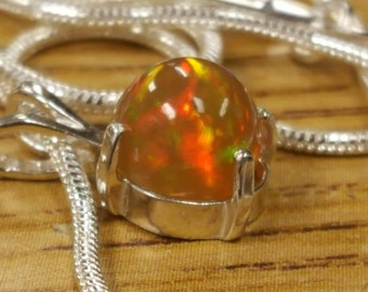Ready to Wear Brilliant Red Highdome Hologram Fire Opal Sterling Silver Pendant Sterling Silver Smooth Snake Necklace With Free Shipping